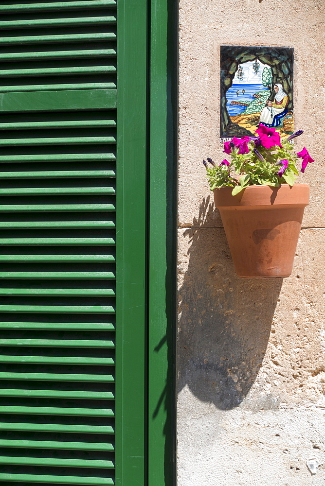 Potted flower hanging below ornate plaque, Valldemossa, Mallorca, Spain