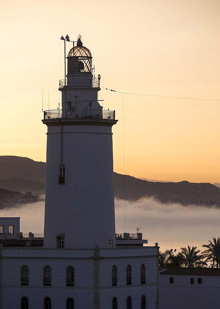 Malaga, Lighthouse at sunset, Malaga, Spain