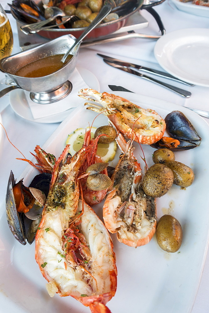 Langoustine with mussels and green olives, Cascais, Portugal