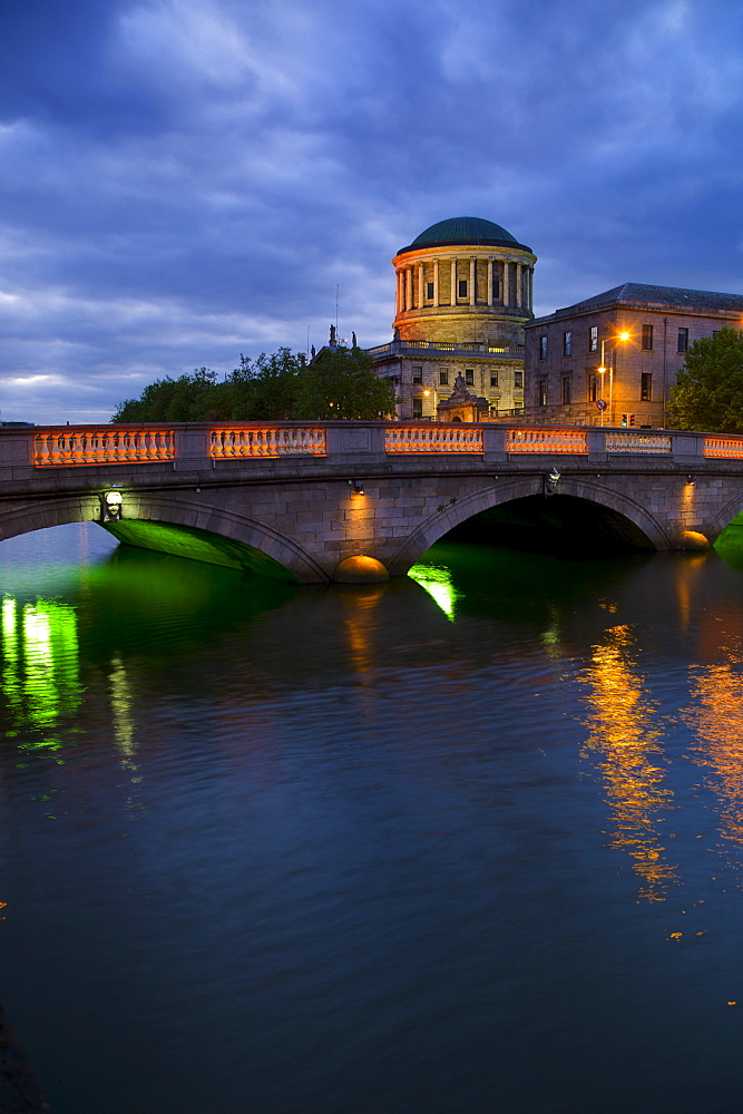 Bridge over River Liffey at night