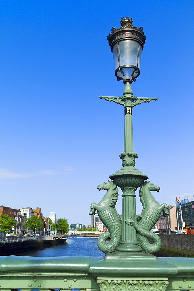 Seahorse statues on Grattan bridge over the river liffey