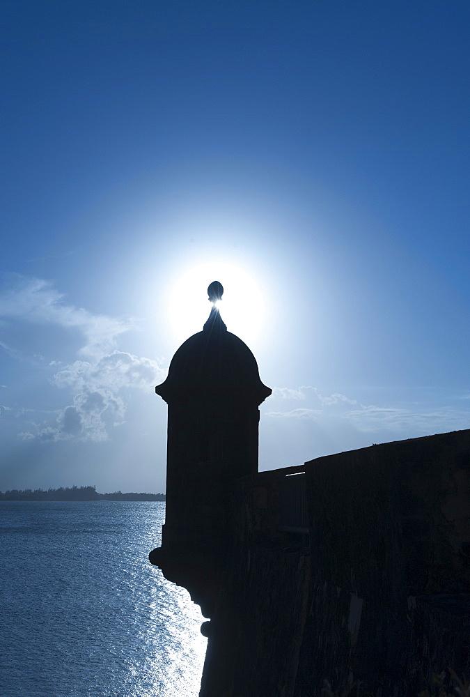 Puerto Rico, Old San Juan, Silhouette of Fort San Felipe del Morro