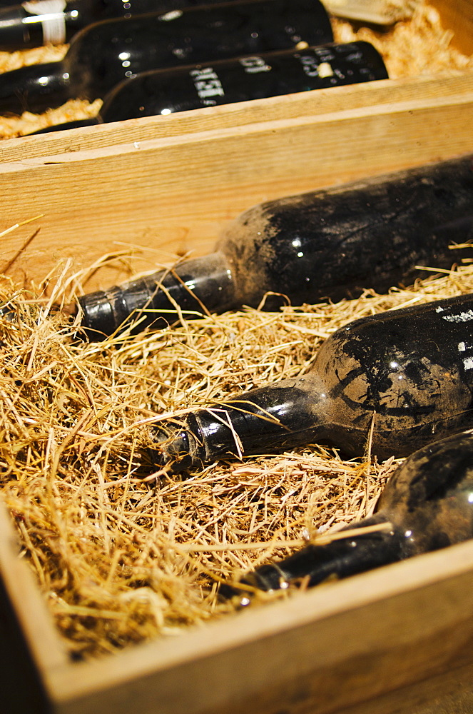 Old wine bottles in wooden box