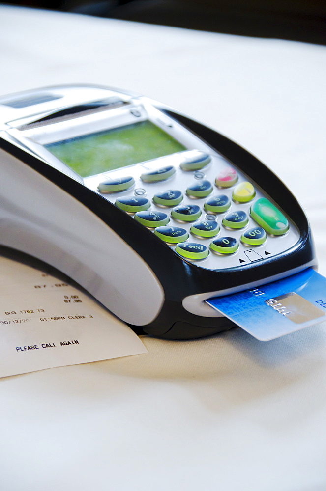 Close up of credit cards reader