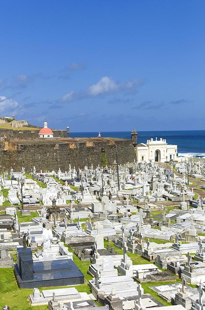 Puerto Rico, Old San Juan, View of Santa Maria Magdalena Cemetery with El Morro Fortress