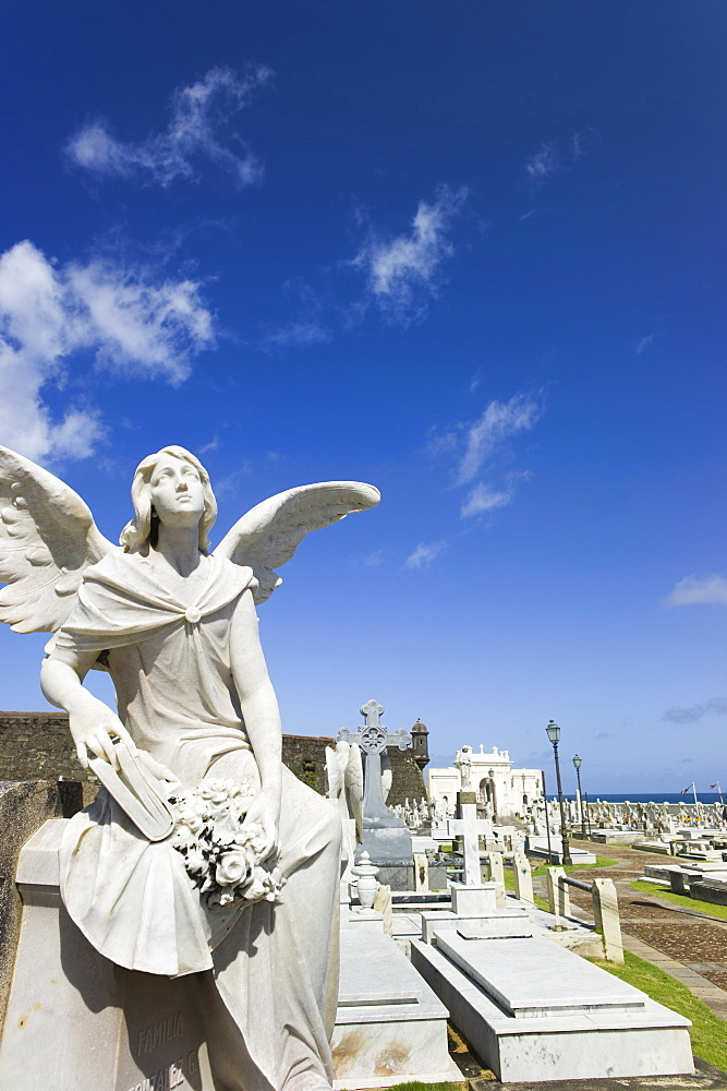 Puerto Rico, Old San Juan, Santa Maria Magdalena Cemetery with El Morro Fortress in background