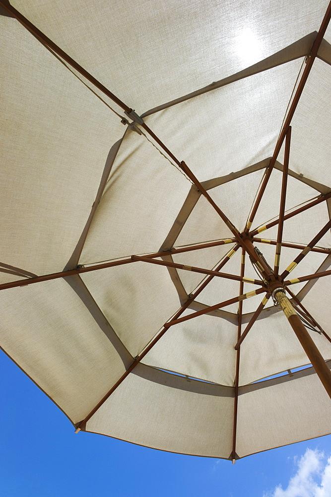 Sunshade against blue sky