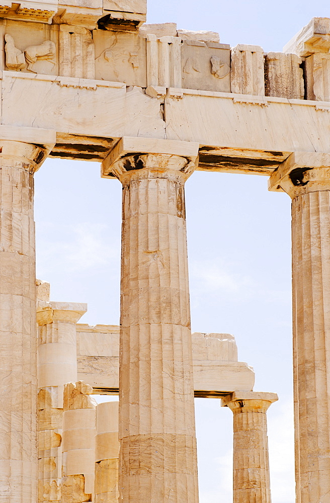 Greece, Athens, Acropolis, Doric columns of Parthenon