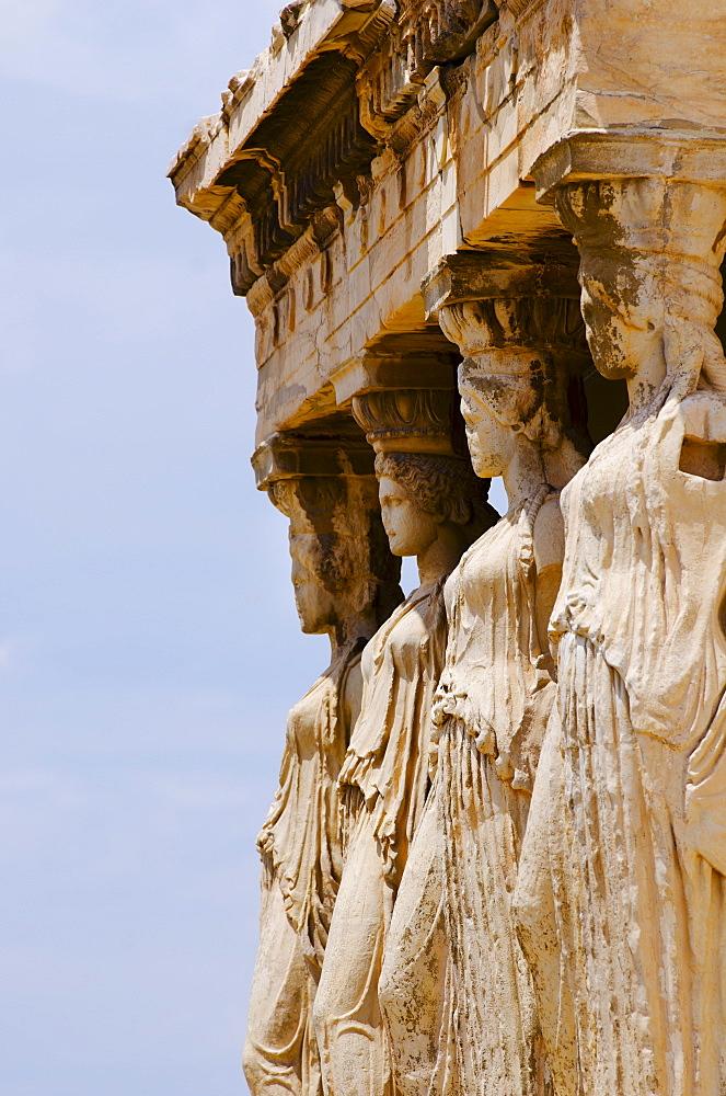 Greece, Athens, Acropolis, Caryatids on Erechtheum