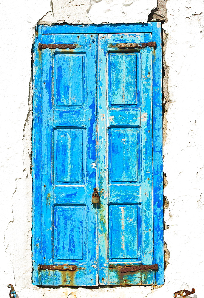 Greece, Cyclades Islands, Mykonos, Old blue door