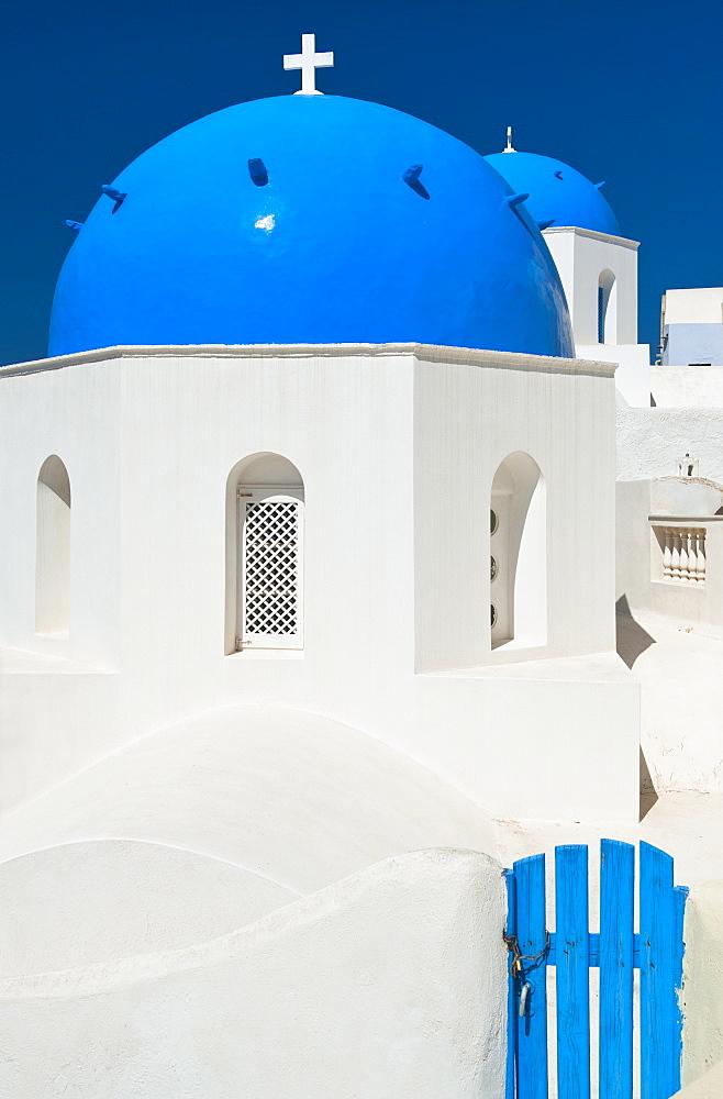 Greece, Cyclades Islands, Santorini, Oia, Church dome with cross