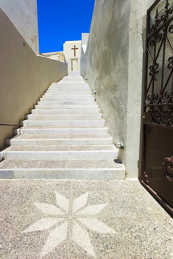 Greece, Cyclades Islands, Santorini, Oia, Street mosaic