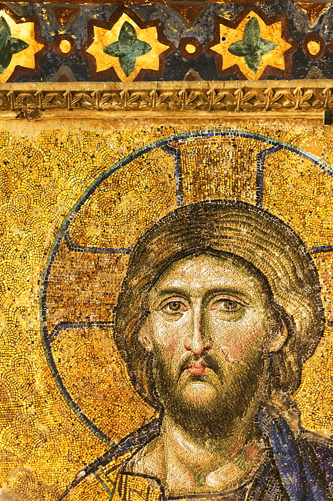 Turkey, Istanbul, Mosaic of Christ Pantocrator in Haghia Sophia Mosque