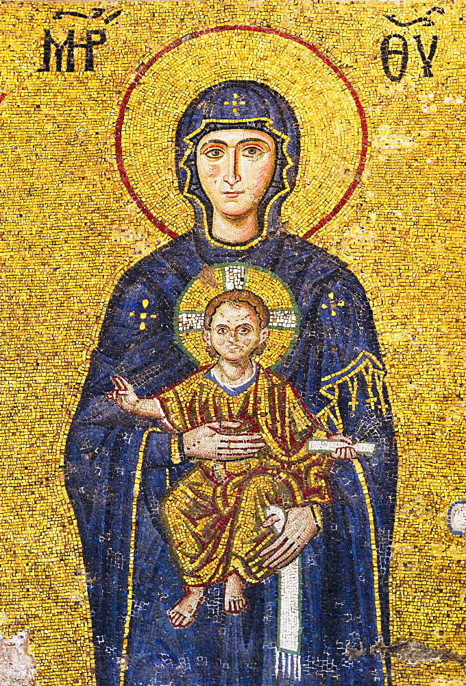 Turkey, Istanbul, Mosaic of Virgin mary holding Jesus in Haghia Sophia Mosque