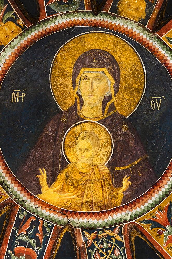 Turkey, Istanbul, Kariye Museum, madonna with child, fresco
