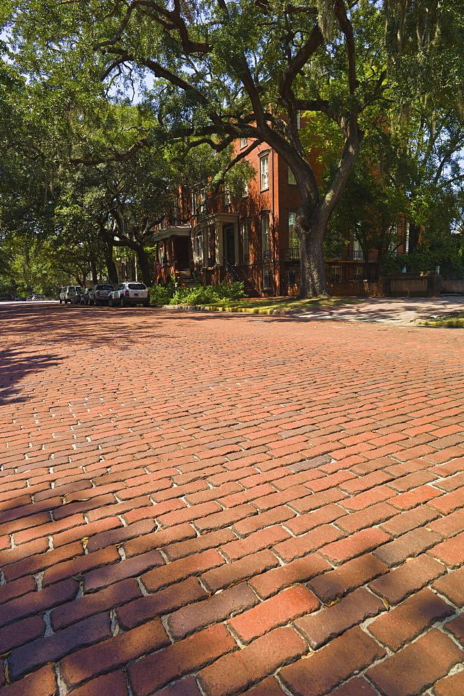 USA, Georgia, Savannah, Street made of red brick