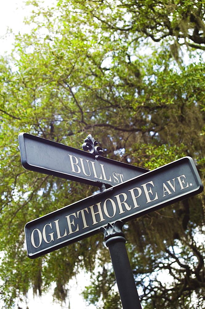 USA, Georgia, Savannah, Close up of street name signs