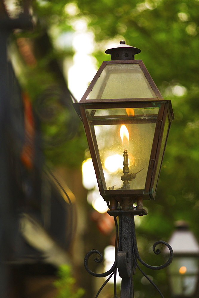 USA, South Carolina, Charleston, Close up of gas street lamp