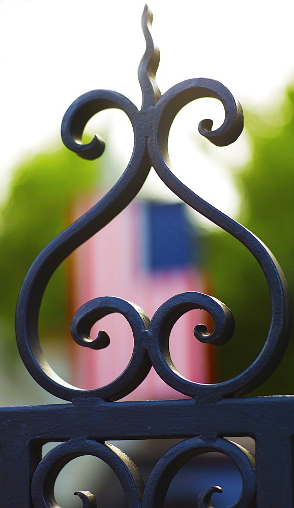 USA, South Carolina, Charleston, Close up of ornate detail of iron gate