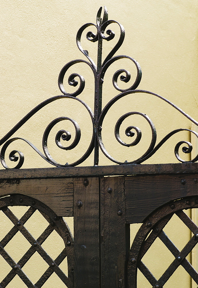USA, South Carolina, Charleston, Close up of ornate iron gate