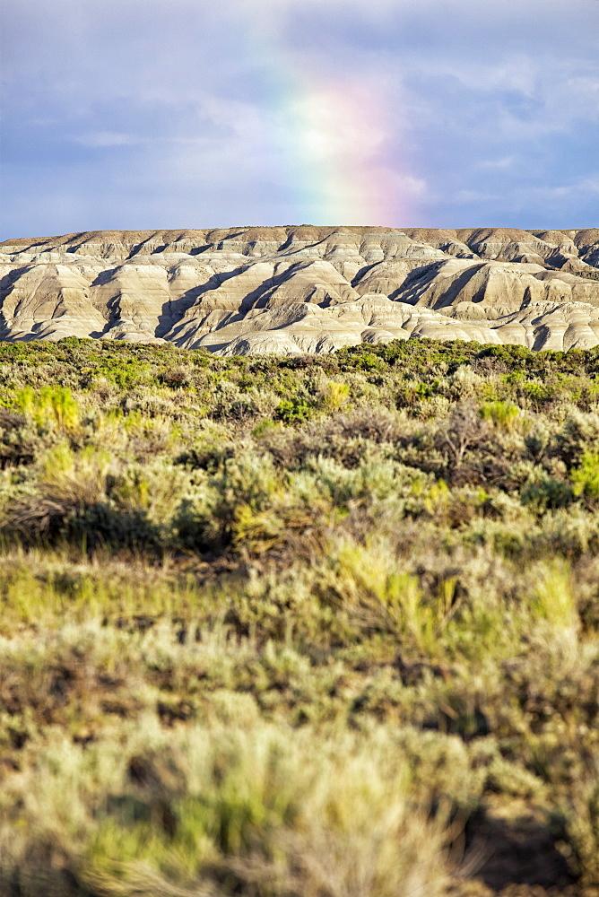 USA, Wyoming, landscape with rainbow, USA, Wyoming