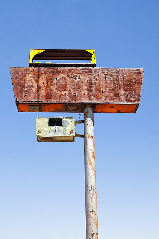 USA, Arizona, Wakeup, low angle view of rusted motel sign, USA, Arizona, Wakeup