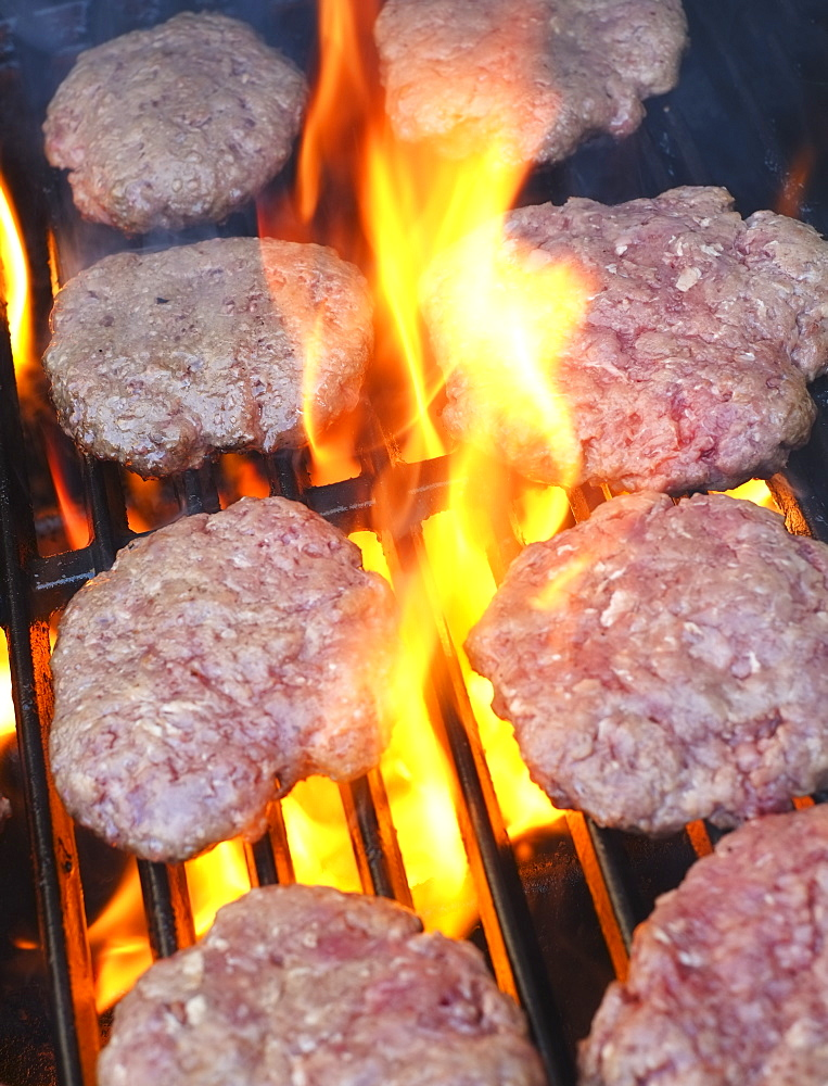 Hamburgers on bbq