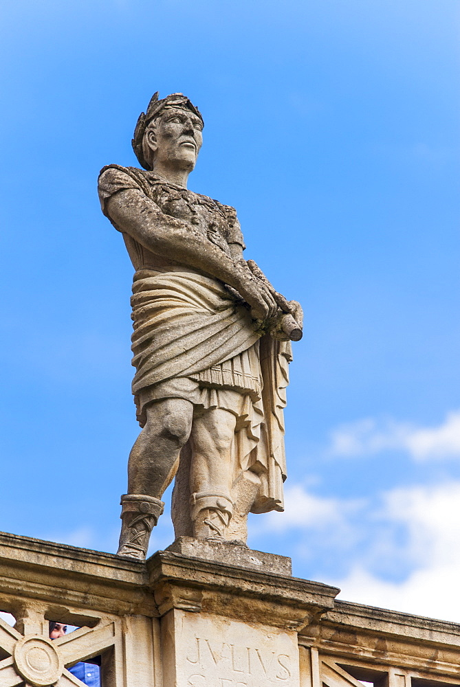 UK, Somerset, Bath, Statue of Julius Caesar at Roman Baths, UK, Somerset, Bath