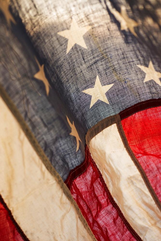 American flag in bright sunshine