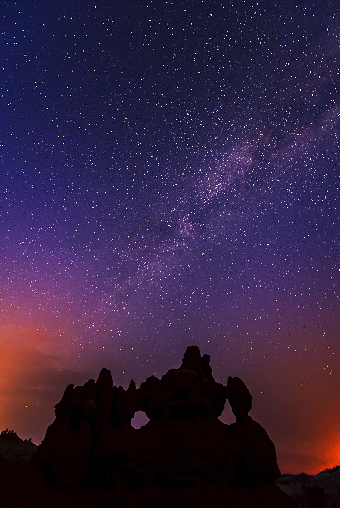 Milky Way above canyon, USA, Utah, Bryce Canyon