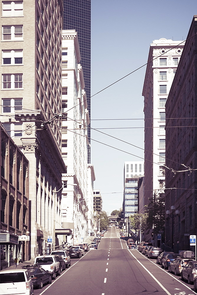 Empty street in downtown, Seattle, Washington