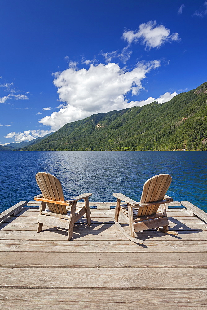 Wooden chairs on pier, Olympic National Park, Washington