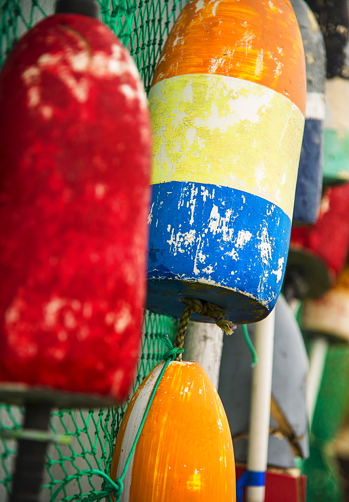 Close-up of colorful lobster buoys, Maine