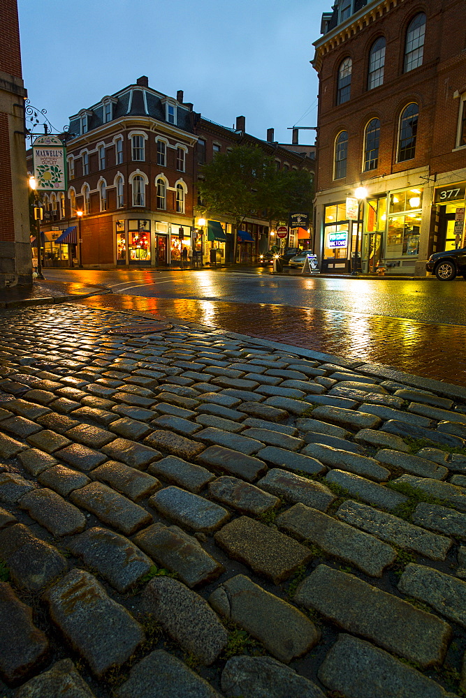 Fore Street at dusk, Portland, Maine