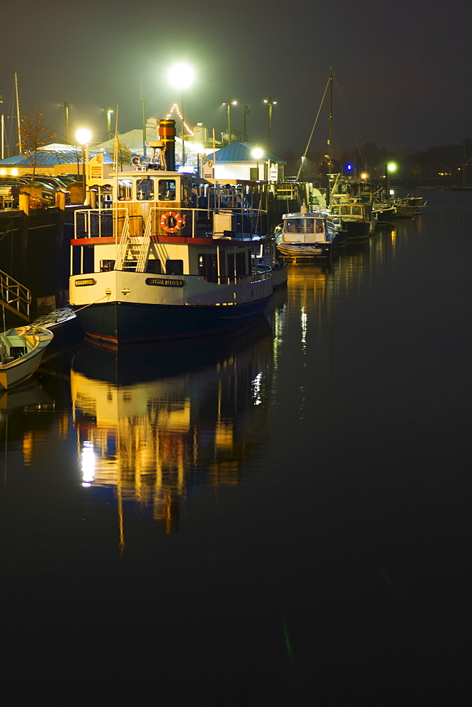 Boats in Harbor at night, Portland, Maine