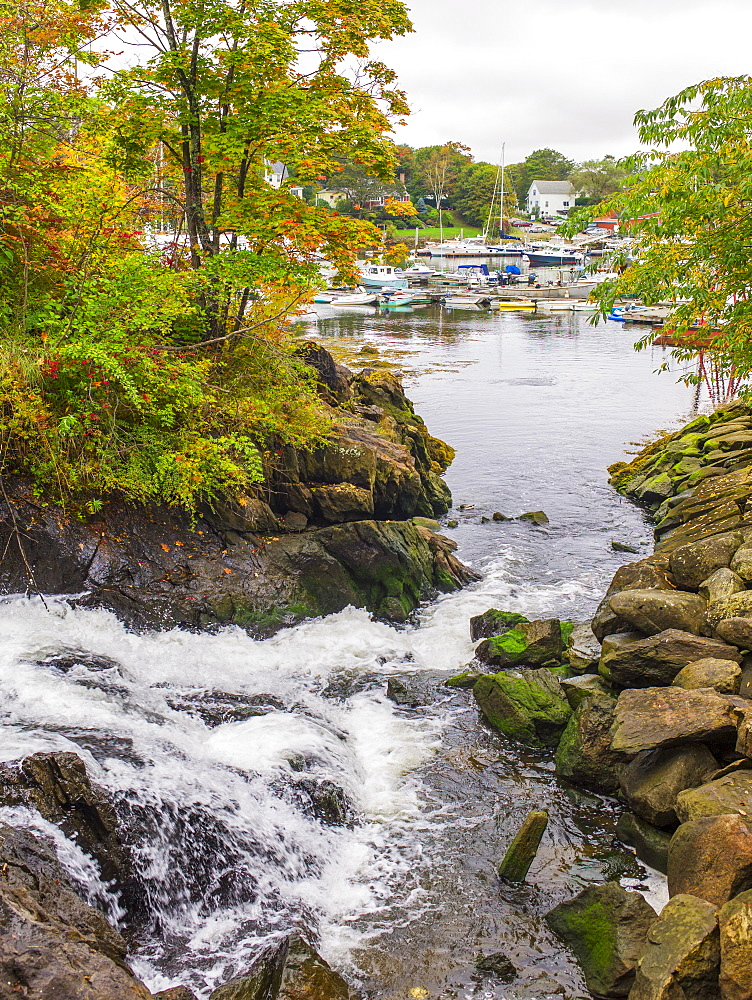 Stream and fishing boats in harbor, Portland, Maine