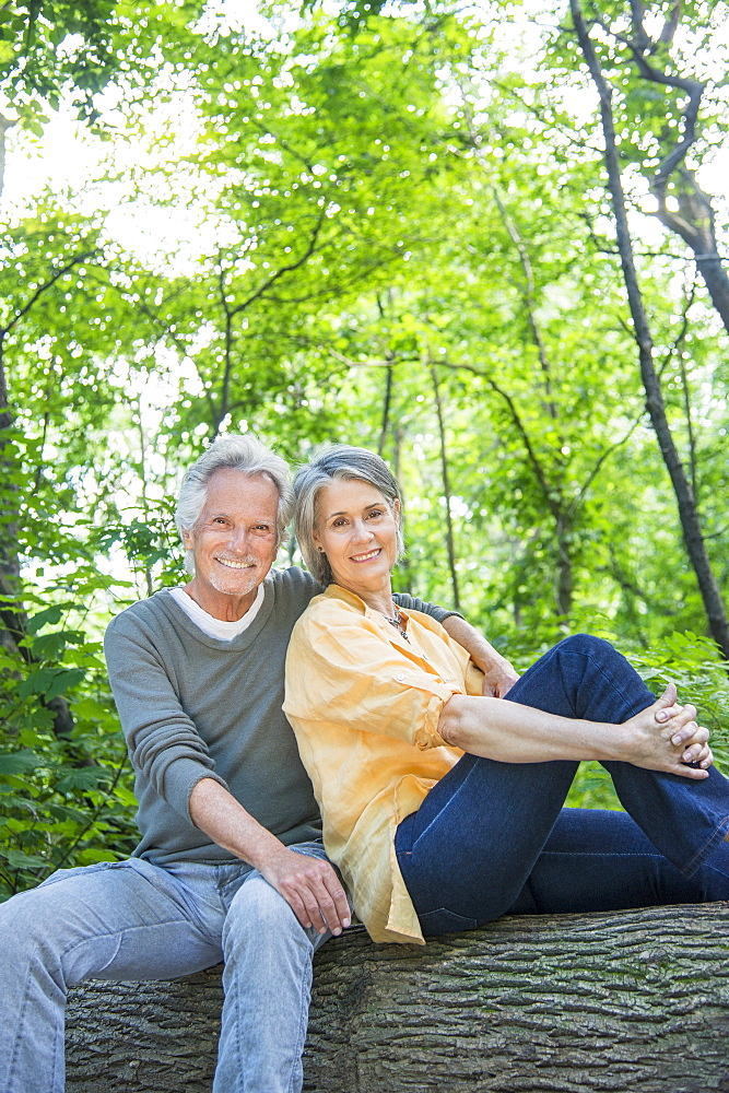 Senior couple sitting on log in forest, Central Park, New York City