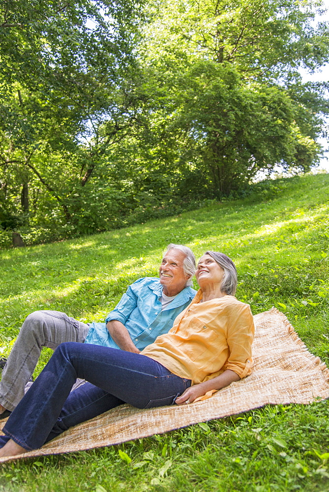 Senior couple relaxing in park, Central Park, New York City