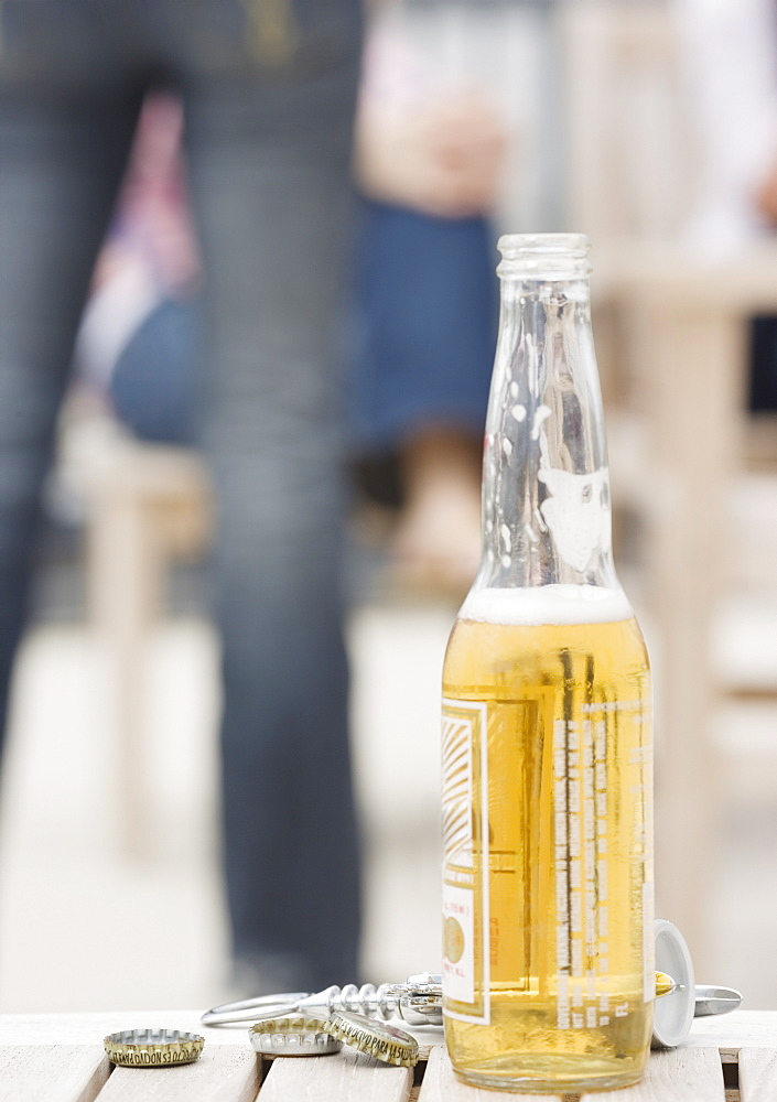 Beer bottle on table