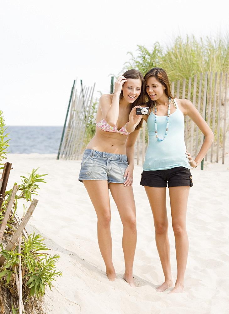 Young women looking at camera