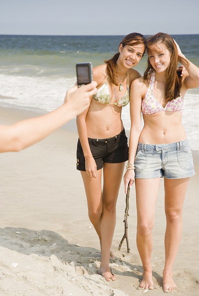 Young women having photograph taken