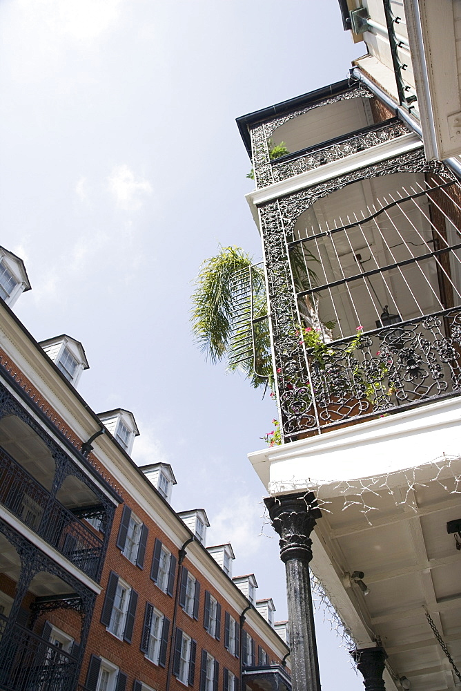 Low angle view of balcony in French Quarter, New Orleans, Louisiana, United States