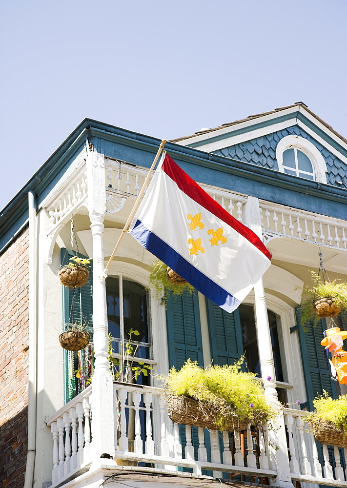 Low angle view of flag on balcony, French Quarter, New Orleans, Louisiana, United States - 1178-16890