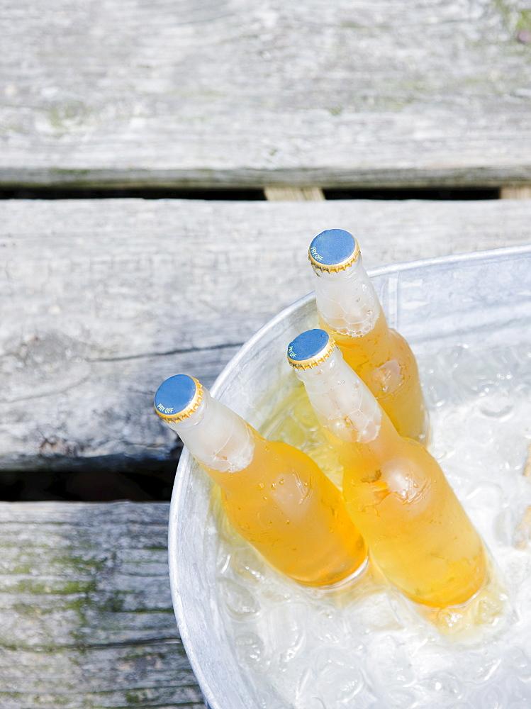 Beer bottles in bucket of ice