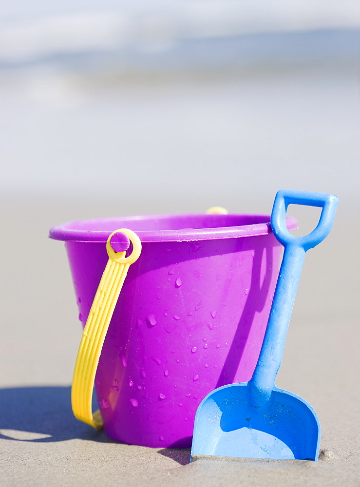 Bucket and shovel on beach