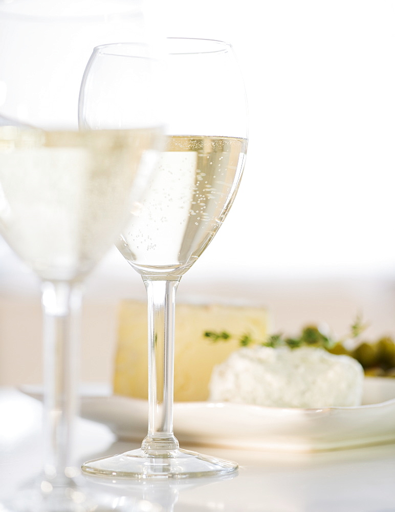 White wine and plate of cheese - 1178-17010