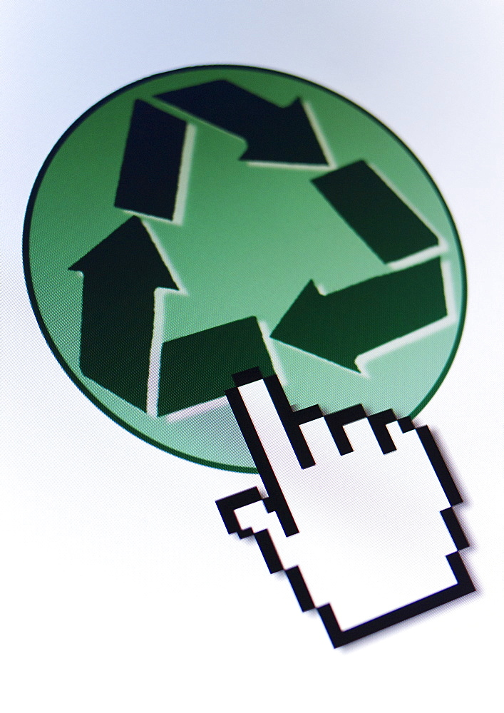 Studio shot of hand cursor on recycling icon