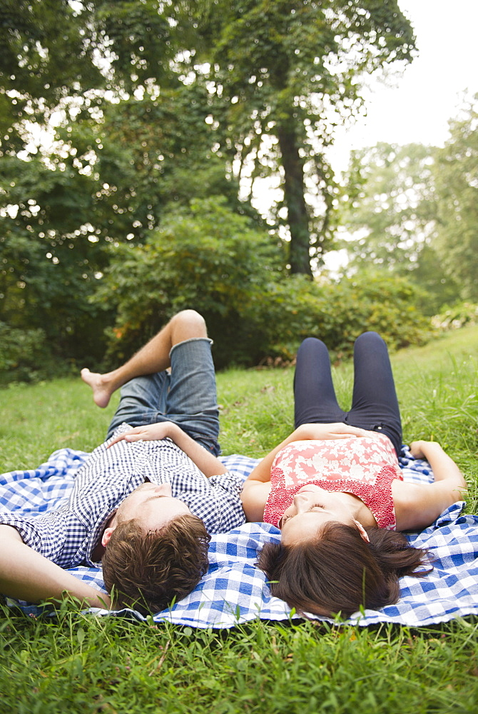Roaring Brook Lake, Couple lying on grass
