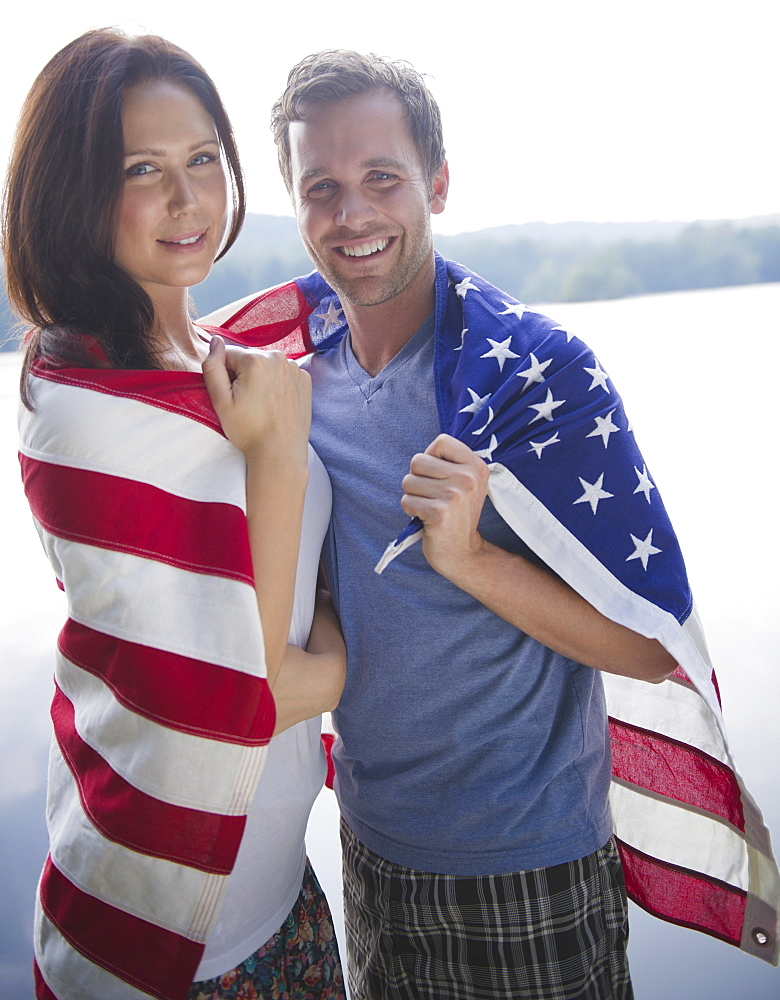 Roaring Brook Lake, Couple wrapped in American flag