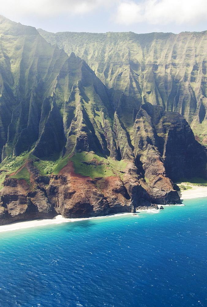 Elevated view of coast, USA, Hawaii, Kauai, Na Pali Coast,